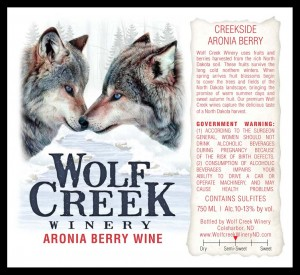 This label graces an Aronia Berry Wine from Randy Albrecht at Wolf Creek Winery in Coal Harbor, N.D.