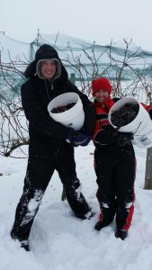 Aric and Aftan demonstrate that true Minnesotans enjoy winter.